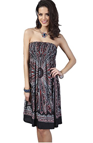 YSJ Women's Beach Dress Tube Top Bohemia Tunic Midi Dress - Top Smocked Tube
