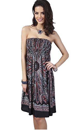YSJ Women's Beach Dress Tube Top Bohemia Tunic Midi Dress (Black)