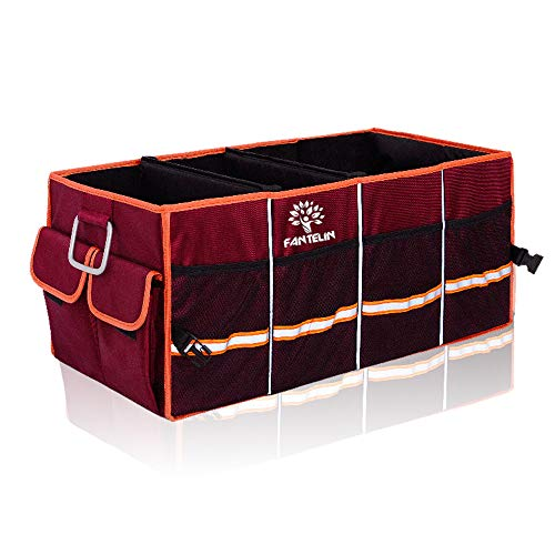 FANTELIN Auto Car Trunk Organizer Foldable Cover Waterproof Non Slip Bottom Cargo Storage Multiple Compartments Collapsible Vehicle for Any Car SUV Mini-van (Red)