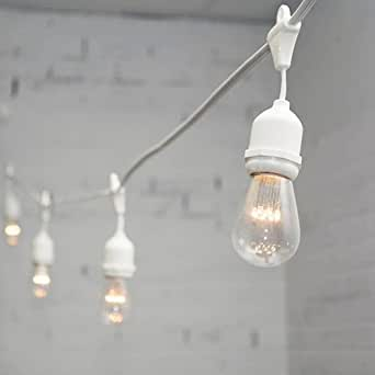 Commercial LED Edison Drop String Lights, 48 Ft White Wire, S14, Warm White - - Amazon.com