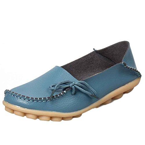 Clode® Neue Damen Lederschuhe Loafers Weiche Freizeit Wohnungen weiblich Freizeitschuhe Blau