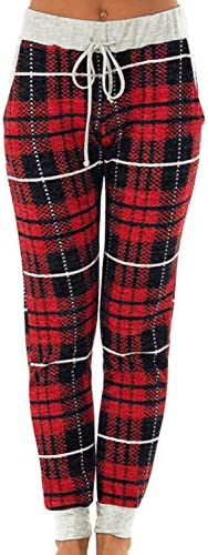 For G and PL Christmas Women's Snowflakes Plaid Pajamas Pants Casual Joggers with Pocket