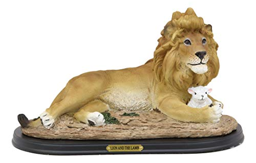 Ebros Gift Religious Christian Inspirational Lion and The Lamb Statue with Base and Brass Plate Title Home Decor Revelations 5 Sculptural Reproduction Jesus Christ Lion of Judah and Lamb of God ()