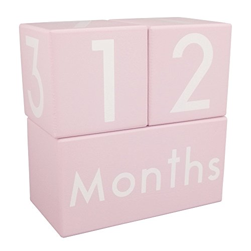 CICINY Age Blocks for Baby Pictures Wood Newborn Photography Props and Milestone Keepsake Gifts to Boy Girl Baby Or Pets (Pink) by CICINY (Image #7)