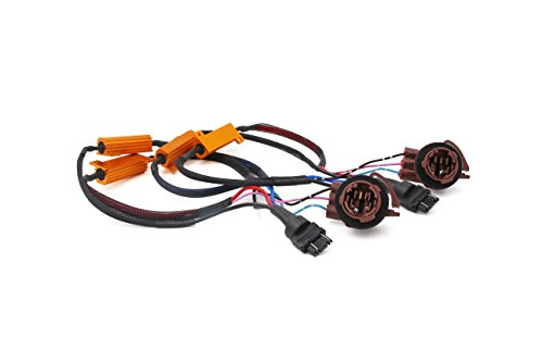 Alla Lighting 3157 3057 4157NA 50W 6Ohm Error Free LED Lights Load Resistor Adapter Fix Flashing Fast Blinking Canbus Bypass Wiring Harness for Upgrading LED Turn Signal Blinker Light Lamps