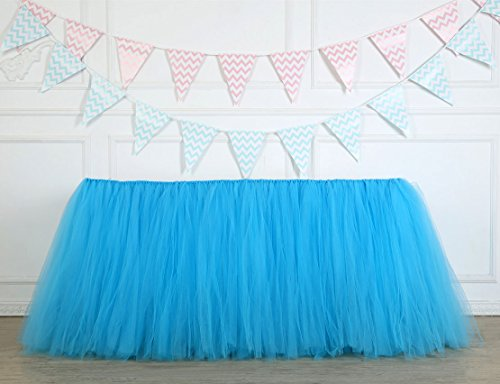 Lansian Table Skirt 1 Yard Mint Tutu Tulle Table Skirting Cover Blue with Velcro Tableware For Party,Wedding,Birthday, Baby Shower (Blue) by Lansian