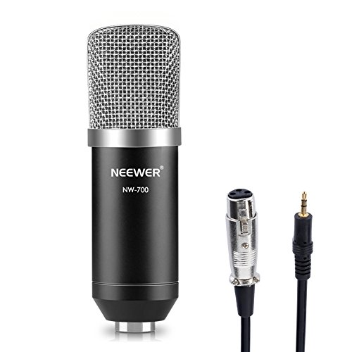 Neewer NW-700 Professional Studio Broadcasting & Recording Condenser Microphone Set Including: (1) NW-700 Condenser Microphone + (1) Ball-type Anti-wind Foam Cap + (1) Microphone Audio Cable (Black) by Neewer