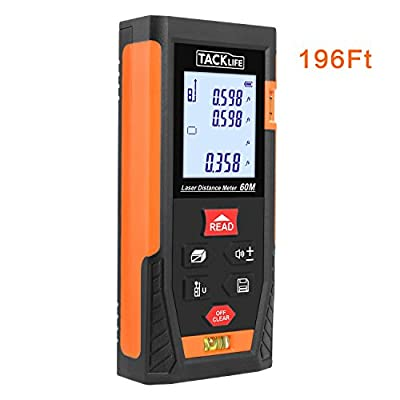 Tacklife HD60 Mute Laser Measure 196 Feet Laser Distance Meter with 2 Bubble Levels Classical Rangefinder Min/in/ft for Pythagorean and Area,Volume Calculation