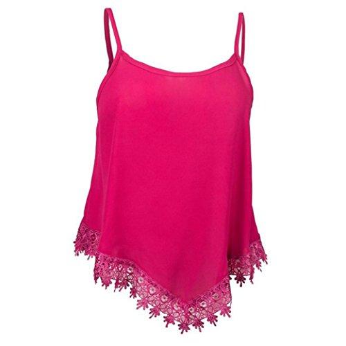 FNKDOR Las mujeres sin mangas tapas flojas playa de la gasa Camiseta ocasional del tanque de la blusa Rosa caliente