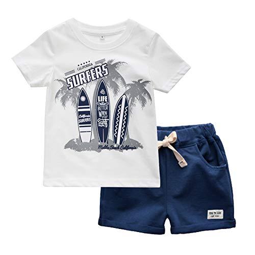 BINIDUCKLING Boy Short Sleeve T-Shirt and Shorts Set Kid 2Pcs Summer Outfit Beachwear Saiboat 5T - Outfits Shirt Boys