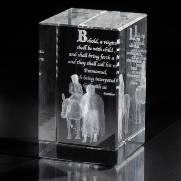 LDS Journey to Bethlehem 50 x 50 x 80mm Crystal Cube - Christmas Home Decor -