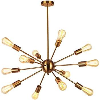 Amazon modern pendant lighting 12 lights brushed brass modern pendant lighting 12 lights brushed brass starburst sputnik chandelier retro ceiling light fixture by vinluz aloadofball Images