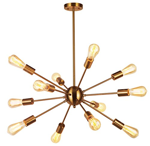 Starburst Light Fixture - Modern Pendant Lighting 12 Lights Brushed Brass Starburst Sputnik Chandelier Retro Ceiling Light Fixture By VINLUZ