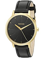 Nixon Womens A108513 Kensington Gold-Tone Stainless Steel Watch with Leather Band