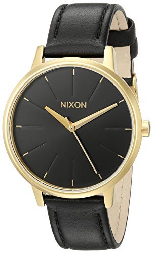 nixon-womens-a108513-kensington-gold-tone-stainless-steel-watch-with-leather-band