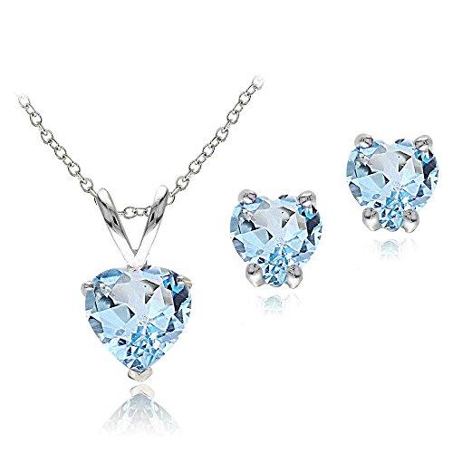 Sterling Silver Blue Topaz Heart Solitaire Necklace & Stud Earrings (Heart Shaped Topaz)