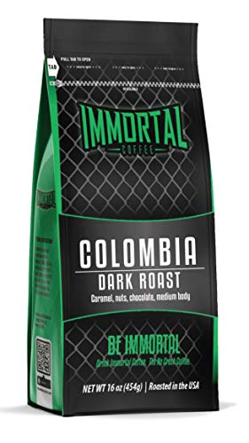 Immortal Coffee, Dark Roast Colombian, Gourmet Coffee, Specialty Grade, Hand Picked and Sun Dried (16 oz, Whole Bean)
