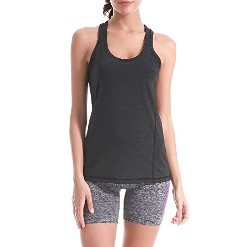 Pattyboth Fitness Vest Activewear Running Workouts Clothes Yoga Racerback Tank Tops for Women Sport Shirts (Black, XL) ()