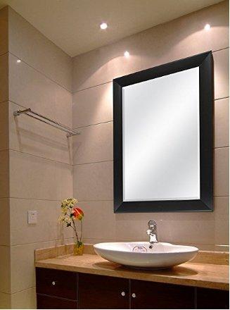 Seven Horses Frame Sober Black Fiber Wood Wall Mirror,Bathroom Mirror,Bedroom Mirror,Dressing Mirror, Water Resistant Synthetic Fiber Wood Made (15X21 Inch)