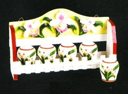 ORCHID 3-D Majolica Spice Rack & Jars *NEW*