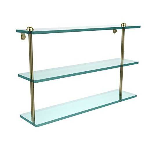Allied Shelf Triple Glass Brass - Allied Brass RC-5/22-SBR 22 Inch Triple Tiered Glass Shelf, Satin Brass