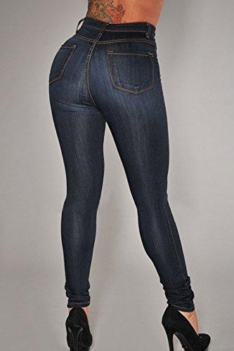 De Tobillo Skinny Casual Alto Pantalones Vaqueros Yacun Longitud Talle Mujer Jeans Darkblue IAqS7wU