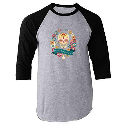 Dia de Los Muertos Sugar Skull Halloween Horror Black M Raglan Baseball Tee Shirt -