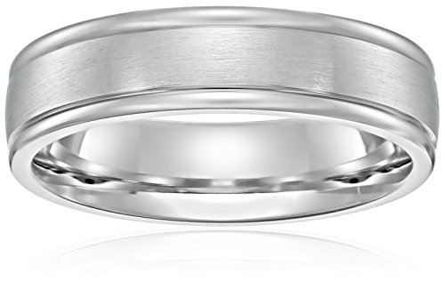 14k White Gold 6mm Comfort-Fit Wedding Band with Satin Center and High Polish Round Edges, Size 10