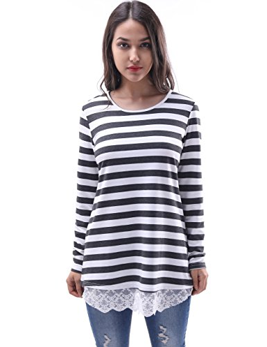 Fancyqube Women's Casual Loose Long Sleeve Lace Stitch Big Hem Tunic Blouse Top Stripe S - Stitch Detail Tunic