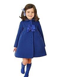 Ameny® Children Girls Fall Winter Lolita Bowknot Wool Outwear Dress Coat