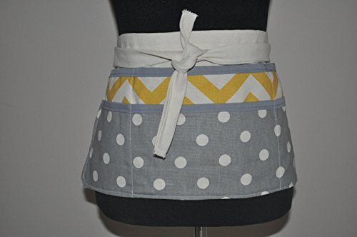 Women's utility apron in gray polka dots and yellow chevron - White Bias Apron