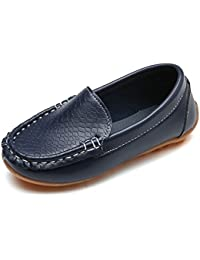 Boys Girls Leather Loafers Slip-on Boat Dress-Shoes...