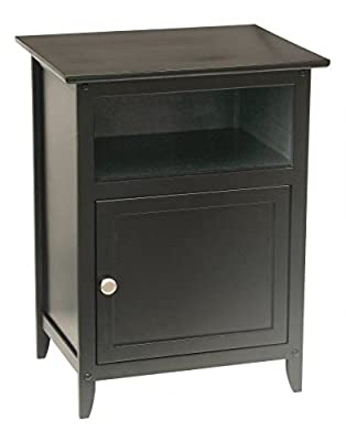 Black Wood End Table Night Stand with Door and Shelf