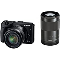 Canon EOS M3 Mirrorless Camera (Black) with EF-M 18-55mm IS STM and EF-M 55-200mm IS STM Lenses - International Version (No Warranty)