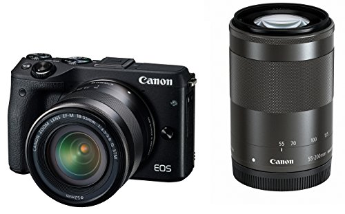 Canon-EOS-M3-Mirrorless-Camera-Black-with-EF-M-18-55mm-IS-STM-and-EF-M-55-200mm-IS-STM-Lenses-International-Version-No-Warranty