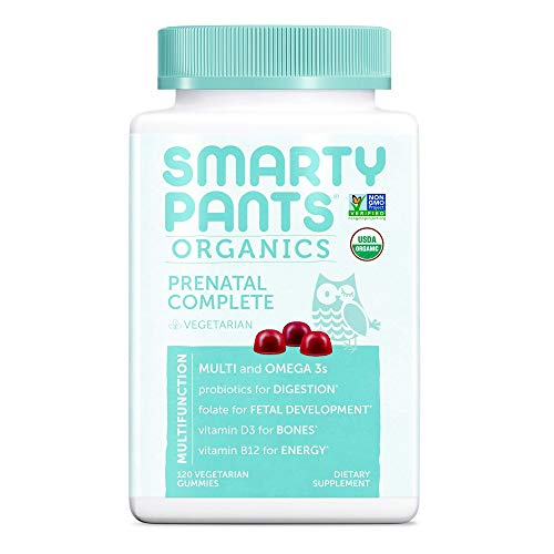 SmartyPants Organic Gluten Free, Vegetarian, Prenatal Daily Gummy Vitamins: Multivitamin, Omega-3, Probiotic, Methylfolate, Vitamin D3, Vitamin B12, Non-GMO 120 Count (30 Day Supply)