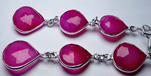 JEWELS EXPORTER Women's 59.4Ctspink Chalcedonyheart13Mm/16Mmsterling Silver Fashion Jewelry Earrings