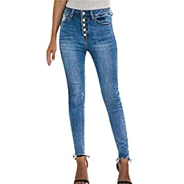 Women's Hight Waisted Hole Button Denim Jeans Stretch Slim Pants