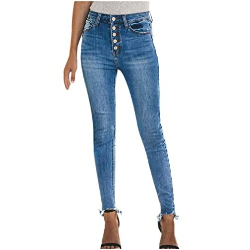 Women's Hight Waisted Hole Button Denim Jeans Stretch Slim Pants 3