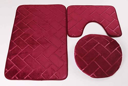 (Elegant Home 3 Piece Solid Color Rectangles Brick Embossed Memory Foam Bathroom Rug Set Bath Rug, Contour Mat, Lid Cover Non-Slip with Rubber Backing # Brick (Burgundy))
