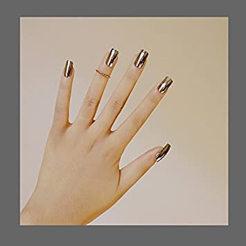 Amazon.com : Metal Mirror Silver False Nail Tips Manicure Metalic Pure Silver Plating Punk Style 24PCS Long Size Fake Nail Art Decorations N02 : Beauty