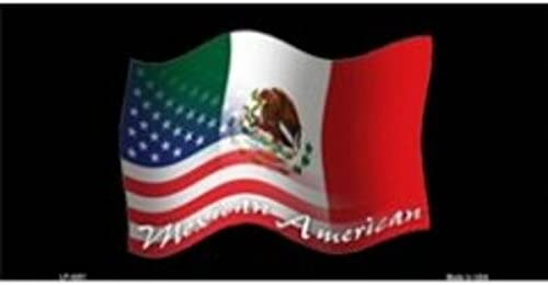 USA Flag Mexico Flag American Flag License Plate Wall Sign Tag Made USA