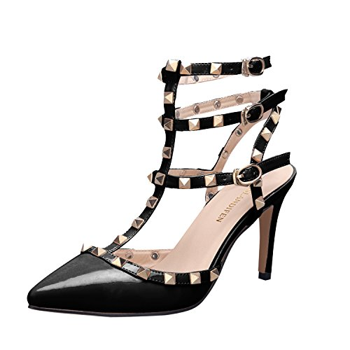 Women Ankle Pointed Toe Sandals High Heels Shoes (Black) - 8