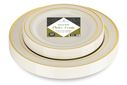 Elite Selection Set Of 40 Party Plastic Plates Gold Rim Includes 20 Dinner Plates 10.25' And 20 Salad/Dessert Plates 7.5'