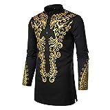Fashion Men Africa Summer Bohe Long Sleeve Basic T Shirt Blouse Fit Slim Top Black