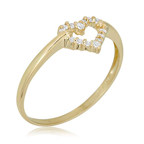 10k Gold Heart Ring - AVORA 10K Yellow Gold Simulated Diamond CZ Open Heart Ring