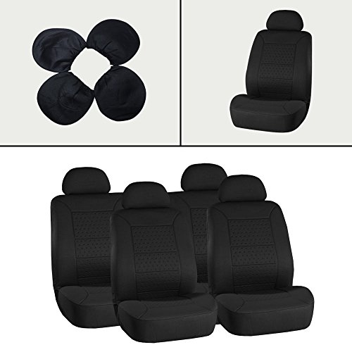 ECCPP Universal New 5MM Padding Soft Car Seat Cover w/Headrest - 100% Breathable Embossed Cloth Stretchy Durable Black for Most Cars Trucks Vans (00 Nissan Quest Van)