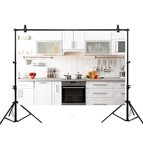Back Cupboard Step (Funnytree 7X5ft Polyester Backdrop Tidy Kitchen with Various Cooking Stuffs Modern City Life Background for Photography or Decoration)