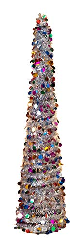 Fold Up Christmas Tree (Pop up Tinsel Tree - Silver with Multi-Colored Circles Christmas Pull up Tree 5 Feet)