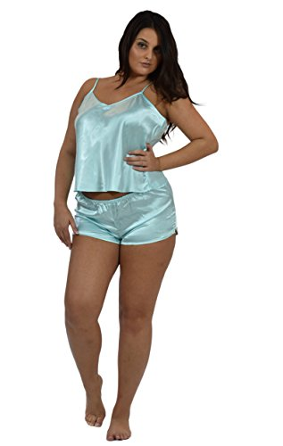 Satin Charmeuse Cami Set, Two Pieces, Plus Sizes, 5 Pretty Colors (2X, Aqua) - Charmeuse Pajamas
